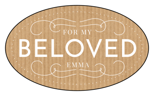 "OL2685 - 3.33"" x 2"" Oval - ""For My Beloved"" Valentine's Day Oval Labels"