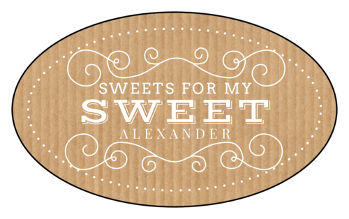 "OL2685 - 3.33"" x 2"" Oval - ""Sweets for My Sweet"" Valentine's Day Oval Labels"