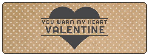 "OL6200 - 7"" x 2.5"" - ""You Warm My Heart Valentine"" Valentine's Day Wrap-Around Labels"