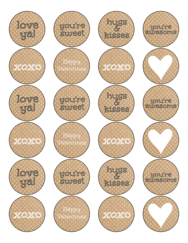 """OL325 - 1.67"""" Circle - Kraft-Style Valentine's Day Circles Labels for Your Sweet Treats"""