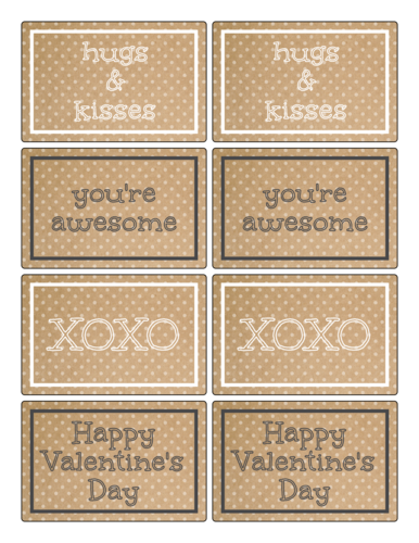 "OL575 - 3.75"" x 2.438"" - Kraft-Style Valentine's Day Labels for Your Sweet Treats"