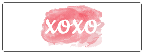 "OL100 - 4"" x 1.33"" - ""XOXO"" Watercolor Wrap Around Valentine's Day Labels for Your Sweet Treats"