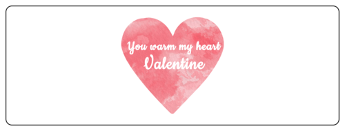 "OL6200 - 7"" x 2.5"" - ""You Warm My Heart"" Watercolor Valentine's Day Labels for Your Sweet Treats"