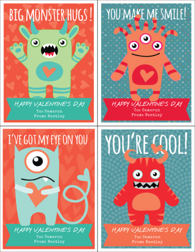 "OL423 - 4.25"" x 5.5""  - Little Monsters Cardstock Valentines"