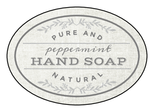 Pure and Natural hand soap product label.