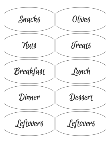 "OL1029 - 3.875"" x 1.875"" - Meal Planning Container Labels"