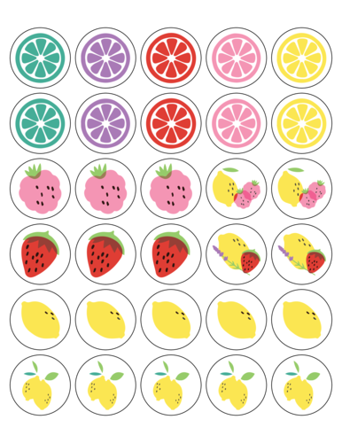 "OL2088 - 1.5"" Circle - Assorted Lemonade Stand Stickers"