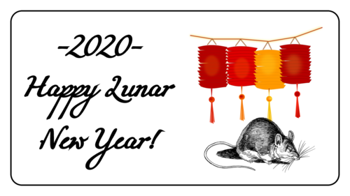 "OL171 - 3.75"" x 2"" - Year of the Rat Chinese New Year Labels"