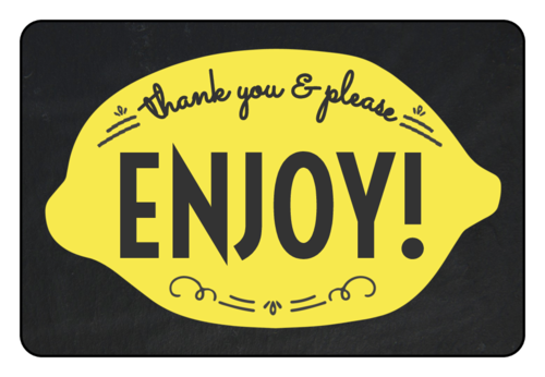"""Thank You & Please Enjoy!"" Lemonade Stand Labels (Round Corner Rectangle)"