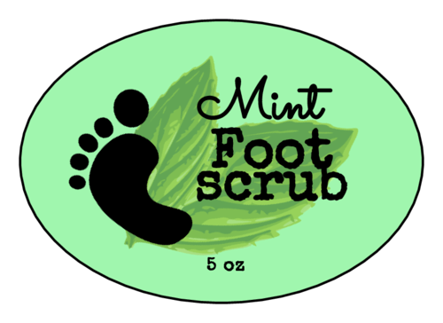 "OL885 - 2.5"" x 1.75"" Oval - Mint Foot Scrub Labels"