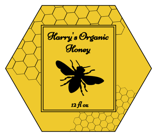 "OL3187 - 3.33"" x 2.8839"" - Honeycomb Honey Jar Labels"