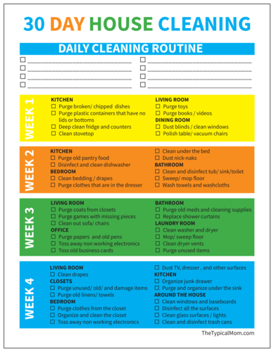 "OL267 - 8.5"" x 11"" - 30 Day House Cleaning Checklist"