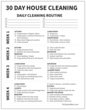 Black and White 30 Day House Cleaning Checklist