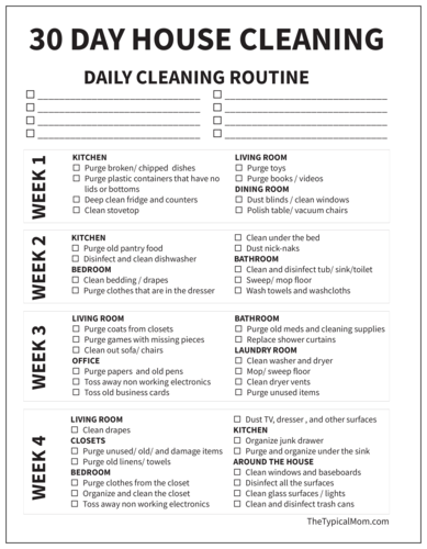 "OL267 - 8.5"" x 11"" - Black and White 30 Day House Cleaning Checklist"