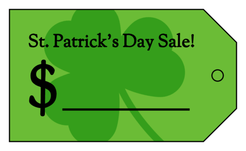 "OL3487 - 1.75"" x 3"" - ""St Patrick's Day Sale"" Cardstock Price Tag"