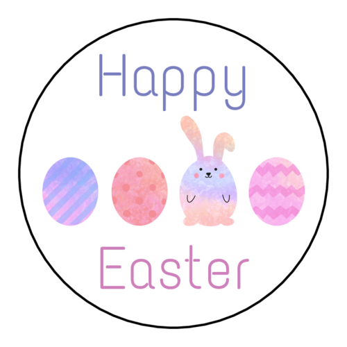 "OL2682 - 2"" Circle - ""Happy Easter"" Eggs Circle Label"