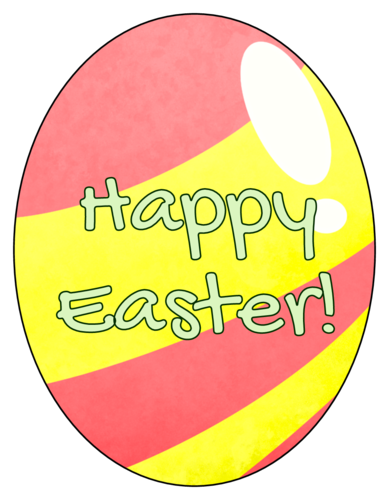 """Happy Easter"" Egg-Shaped Labels (Oval)"