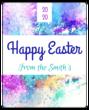 """Happy Easter"" Paint Splatter Wine Label"