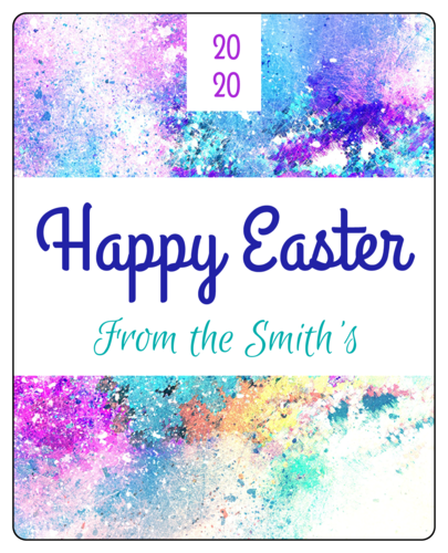 Wine bottle label template for Easter bottles - splatter paint that says Happy Easter