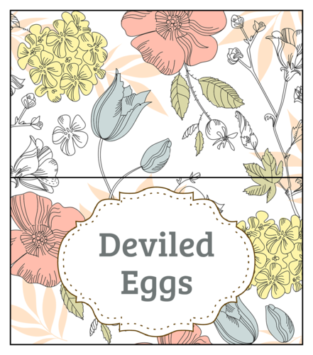 Floral Easter food table tents