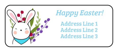 Cute Little Bunny Address Label (Round Corner Rectangle)
