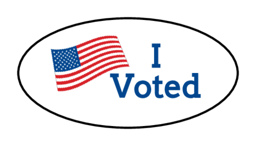 "OL6025 - 1.5"" x 0.75"" Oval - ""I Voted"" Oval Labels"