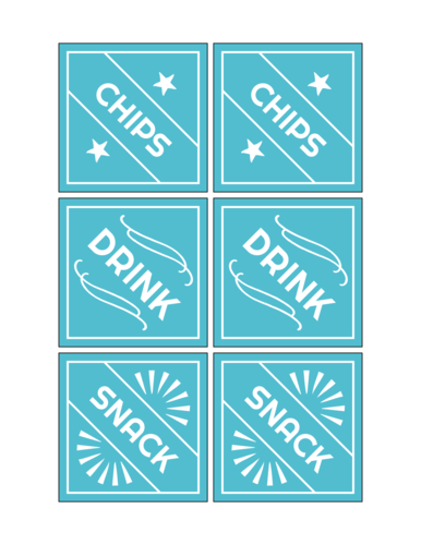Fourth of July food sticker templates - chips, drinks, etc