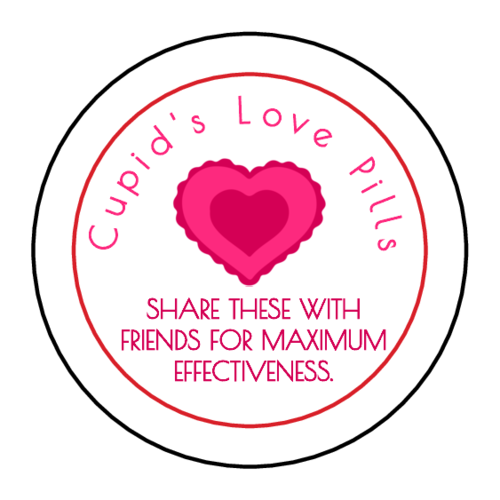 Cupid's Love Candy Valentine's Day Favor Labels (Circle)