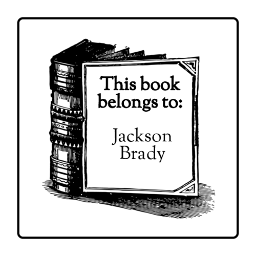 """This Book Belongs to"" Customizable Bookplate Labels (Round Corner Rectangle)"