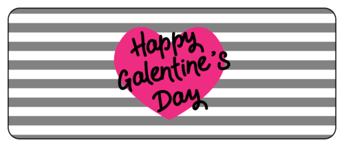"OL8250 - 2"" x 5"" - ""Happy Galentine's Day"" Striped Valentine's Day Favor Labels"