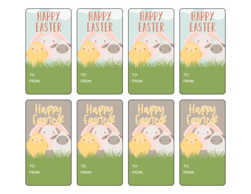 "OL171 - 3.75"" x 2"" - Assorted Easter Friends Gift Tag Labels"