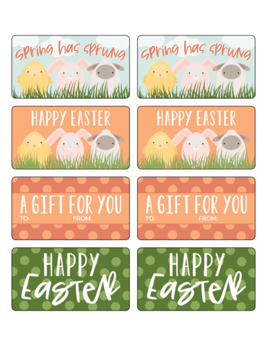 "OL171 - 3.75"" x 2"" - Assorted Easter Friends Decorative Gift Tag Labels"