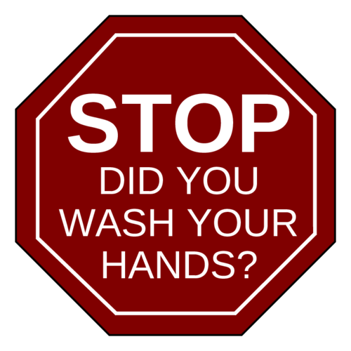 "OL1185 - 2.5"" x 2.5"" - ""Stop, did you wash your hands?"" Notice Sign Labels"