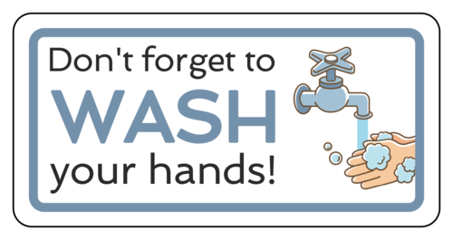 "OL125 - 4"" x 2"" - ""Don't forget to wash your hands!"" Notice Sign Labels"
