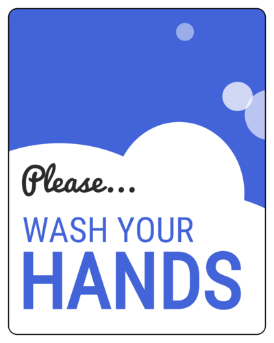 """Please wash your hands"" Sudsy Notice Sign Labels (Round Corner Rectangle)"