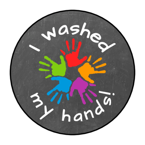 "OL2088 - 1.5"" Circle - ""I washed my hands!"" Chalkboard Style Stickers"
