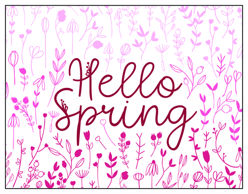 "OL247 - 8.5"" x 5.5"" Thank You Cards - Hello Spring Note Card"