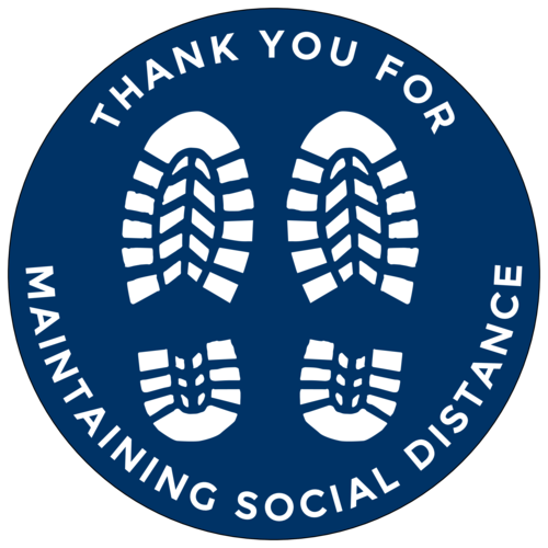 """OL3033 - 8"""" Large Circle - """"Thank You For Maintaining Social Distance"""" Floor Labels"""