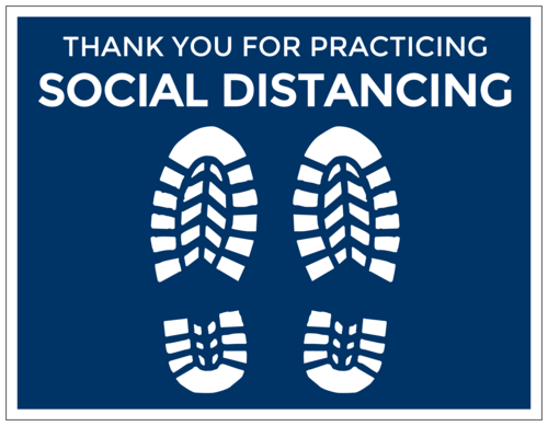 """Thank You For Practicing Social Distancing"" Floor Labels (Square Corner Rectangle)"