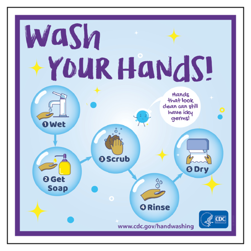 "OL3027 - 4"" x 4"" Square - CDC ""Wash Your Hands!"" Hand Washing Awareness Square Labels"