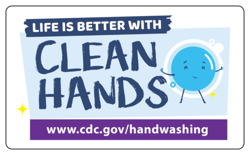 "OL1983 - 3"" x 5"" - CDC ""Life is Better With Clean Hands!"" Handwashing Awareness Labels"