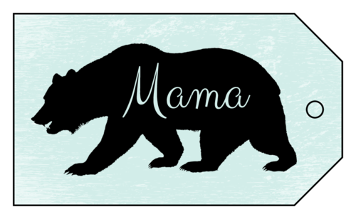 "OL3487 - 1.75"" x 3"" - Mama Bear Mother's Day Cardstock Gift Tag"