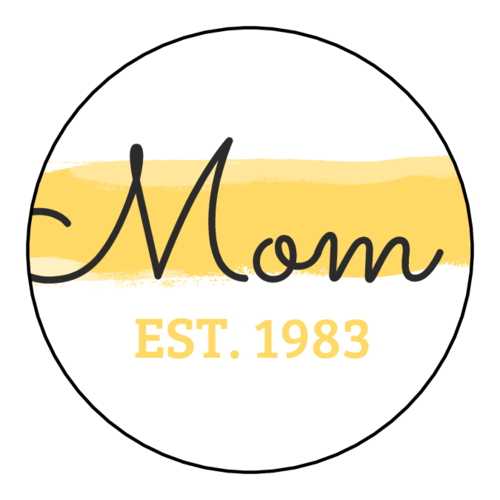 "OL914 - 1.75"" Circle - ""Mom"" Paint Stroke Mother's Day Gift Sticker"