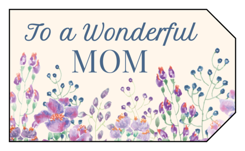 Purple flower field Mother's Day gift tag