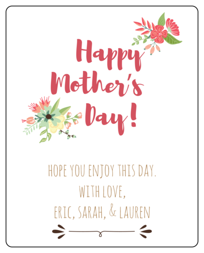Floral wine bottle label template to celebrate Mother's Day