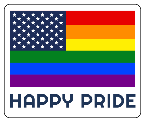"""Happy Pride"" sticker with rainbow American flag"