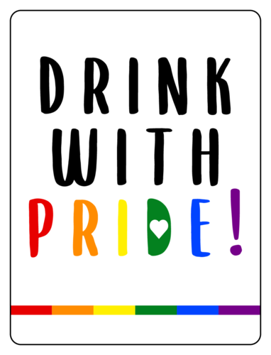 """Drink with pride"" rainbow beer bottle label for Pride month and LGBT celebrations"