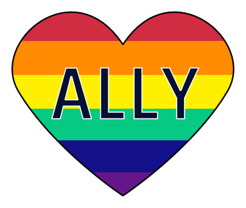 "Rainbow heart label template with ""Ally"" written in the center, for businesses supporting the LGBTQ community"