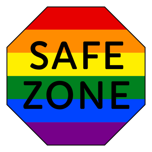 "Octagon label template with ""safe zone"" written in the center, for businesses supporting the LGBTQ community"