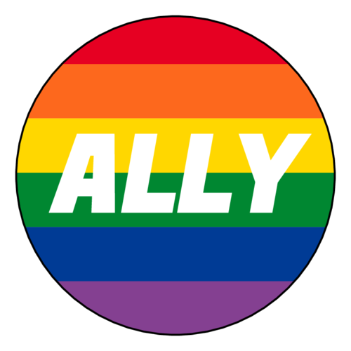 "Rainbow circle label template with ""Ally"" written in the center, for businesses supporting the LGBTQ community"